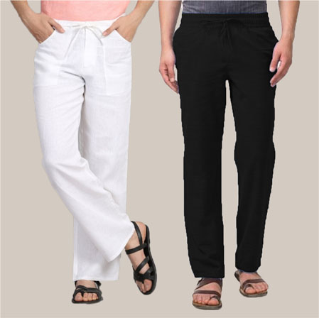 Combo of 2 Cotton Men Handloom Pant White and Black-35972