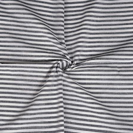 White and Black Cotton Handloom Khadi Fabric-40229