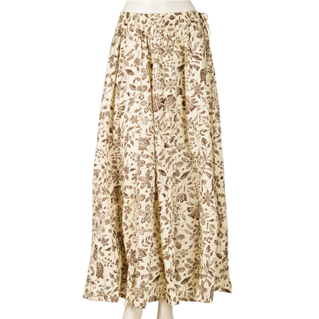 White and Black Flower Design  Block Print Cotton Long Skirt-23075