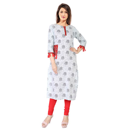 White and Black Half Sleeve Tassel Rayon Kurti-3116