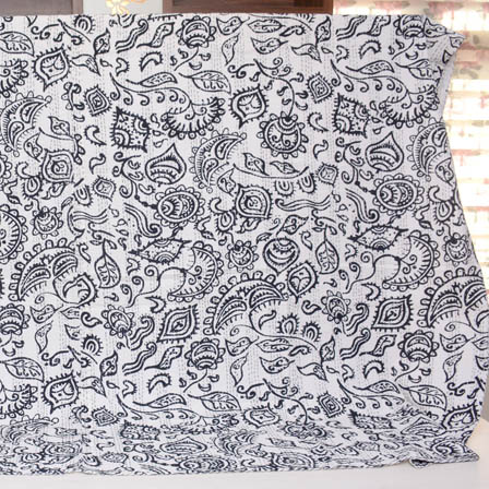 White and Black Handmade Leaf Pattern Kantha Quilt-4333
