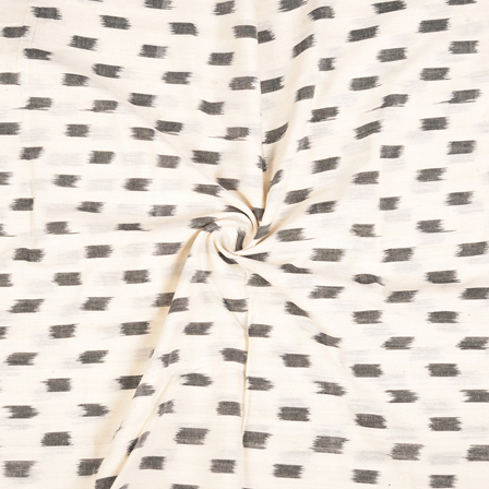 White and Black Ikat Cotton Fabric-12114