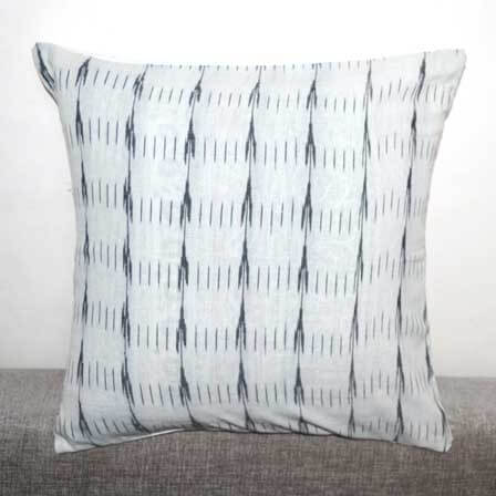 White and Black Ikat Cushion Cover