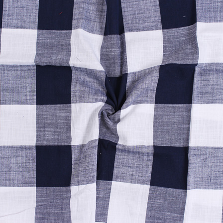White and Black Large Slub Checks Handloom Cotton Khadi Fabric-40044