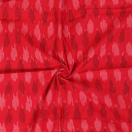 White and Black Lining Design On Red Ikat Fabric-12057