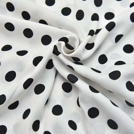 White and Black Polka Design Crepe Fabric-18023