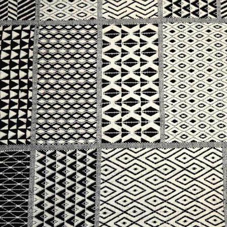 White and Black Square Shape Cotton Jacquard Fabric`-31033