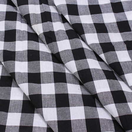 White and Black Tom Tom Checks Handloom Cotton Khadi Fabric-40026