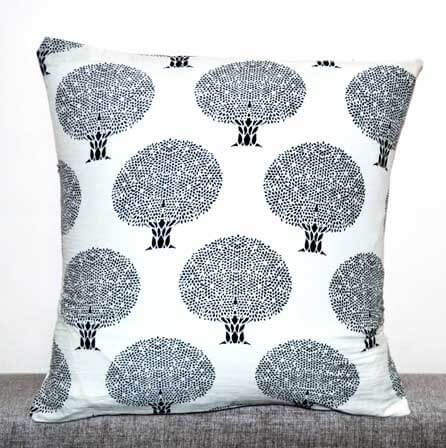 White and Black Tree Pattern Block Print Indian Cotton Cushion Cover