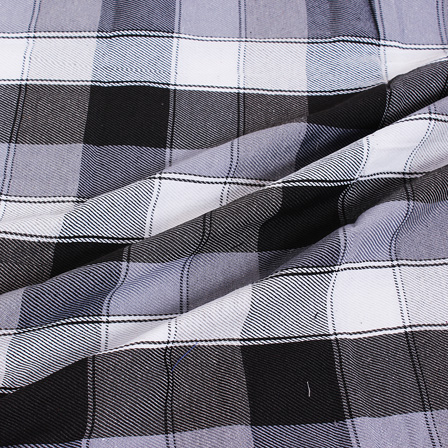 White and Black Twill Checks Handloom Cotton Fabric-40058