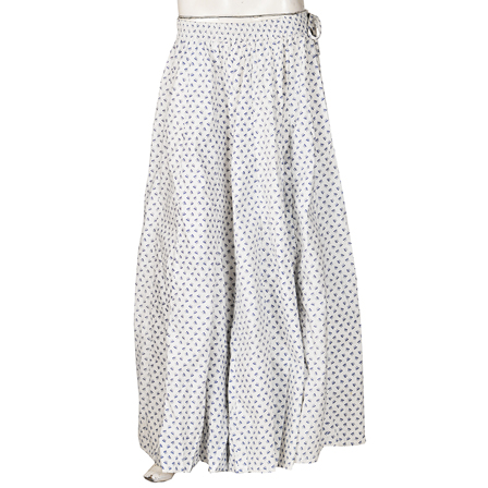 White and Blue  Block Print Cotton Long Skirt-23081