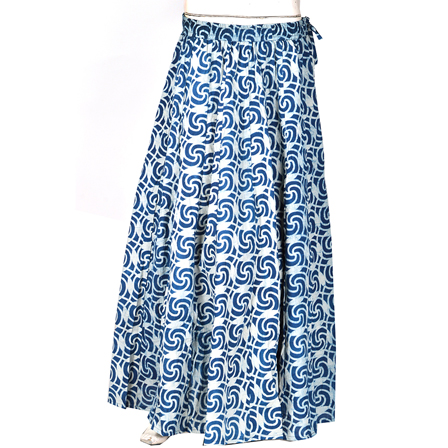 White and Blue Block Print Cotton Long Skirt-23093
