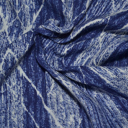 White and Blue Blod Lining Design Rayon Fabric-15028