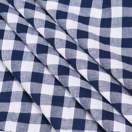 White and Blue Checks Handloom Cotton Khadi Fabric-40039