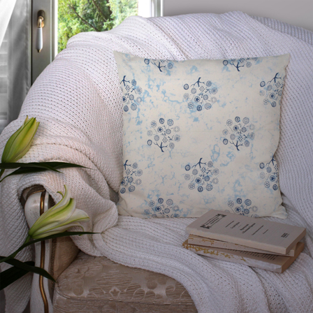 White and Blue Cotton Cushion Cover-35014