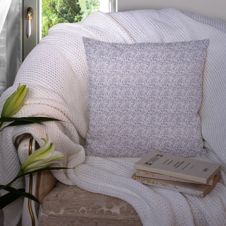 White and Blue Cotton Cushion Cover-35023