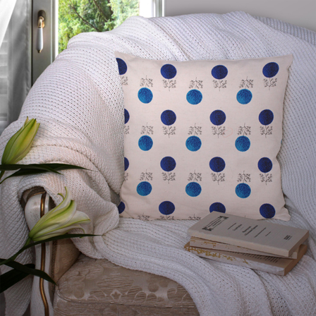 White and Blue Cotton Cushion Cover-35034