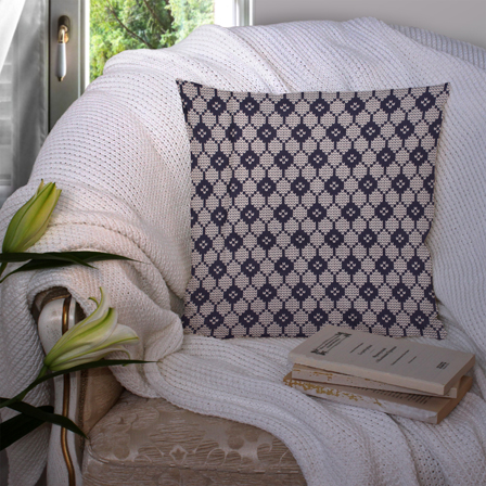 White and Blue Cotton Cushion Cover-35042