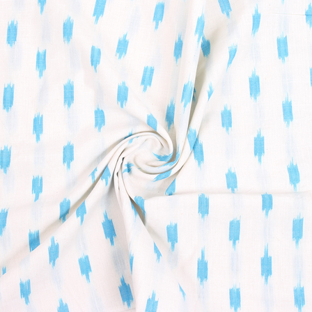 White and Blue Cotton Ikat Fabric-12173