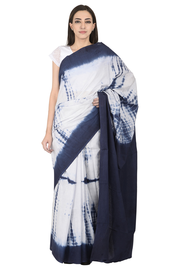 White and Blue Cotton Shibori Saree-20092