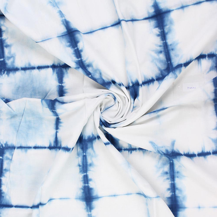 White and Blue Cotton Shibori Tie Dye Fabric-14413