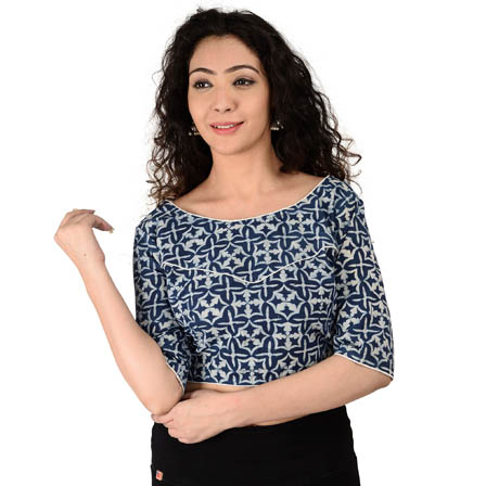 White and Blue Elbow Sleeve Cotton Indigo Blouse-30156