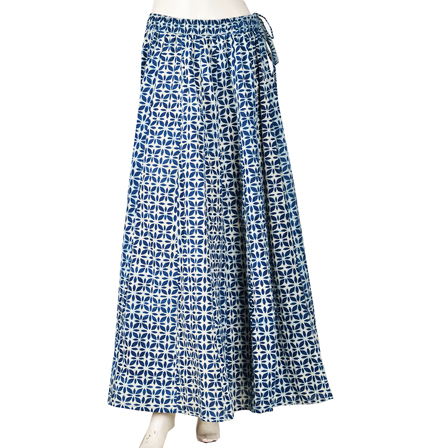 White and Blue Floral Design  Block Print Cotton Long Skirt-23057
