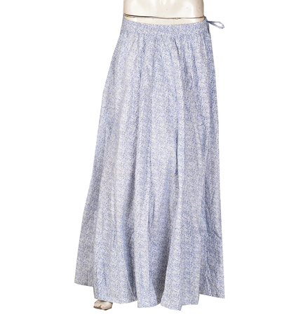 White and Blue Floral Design  Block Print Cotton Long Skirt-23103
