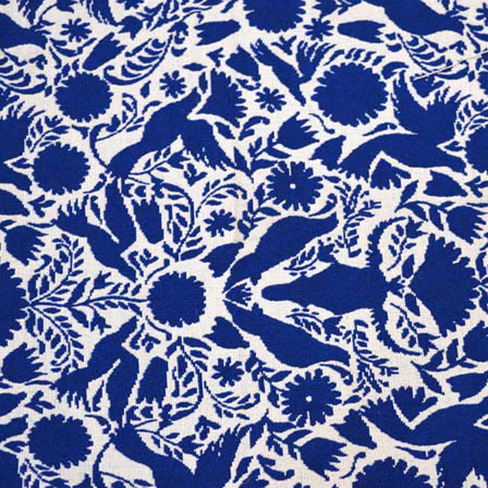 White and Blue Floral Design Cotton Jacquard Fabric-31035