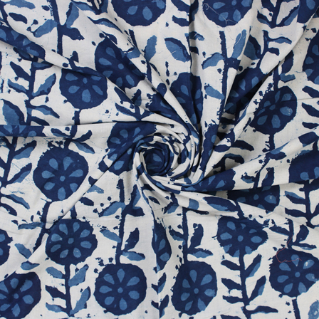 White and Blue Floral Indigo Block Print Cotton Fabric-14571