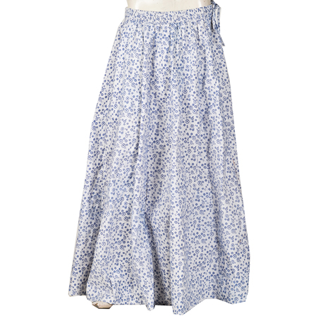 White and Blue Flower Design Block Print Cotton Long Skirt-23062