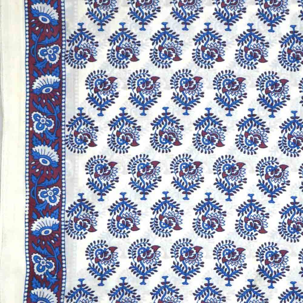 Buy White And Blue Flower Motif Hand Block Print Cotton Fabric