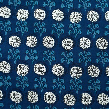 White and Blue Flower Pattern Block Print Cotton Fabric-RL4306