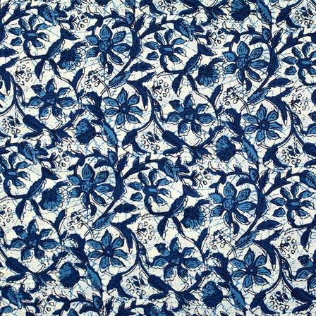 White and Blue Flower Pattern Block Print Cotton Fabric-RL4320