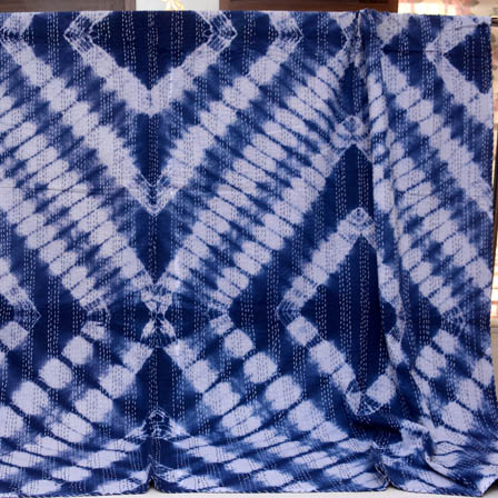 White and Blue Handmade Indigo Kantha Quilt-4366