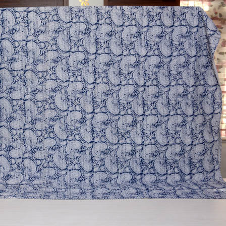 White and Blue Handmade Paisley Design Kantha Quilt-4350