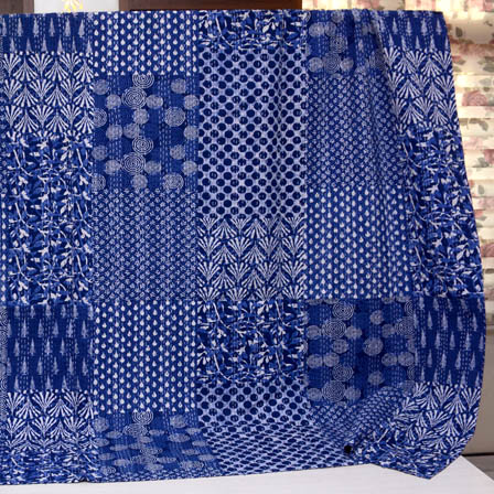 White and Blue Handmade Patch Work Kantha Quilt-4378