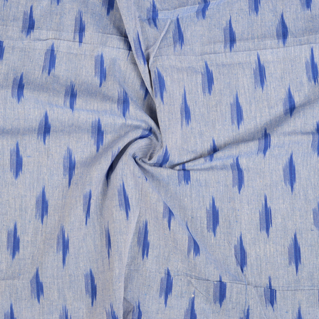 White and Blue Ikat Cotton Fabric-12095