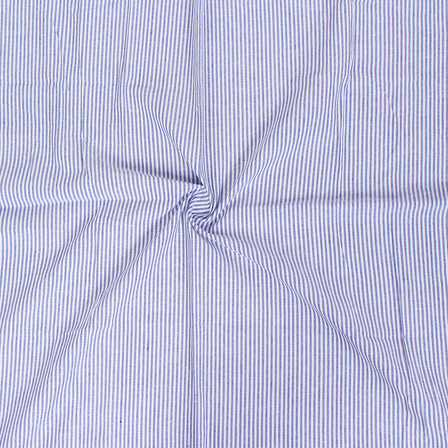 White and Blue Lining Handloom Cotton Stripe Khadi Fabric-40011