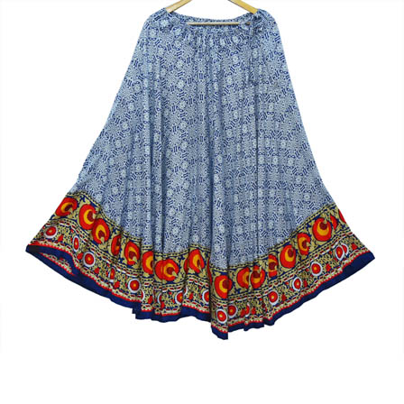 White and Blue Rayon Printed Skirt-23037