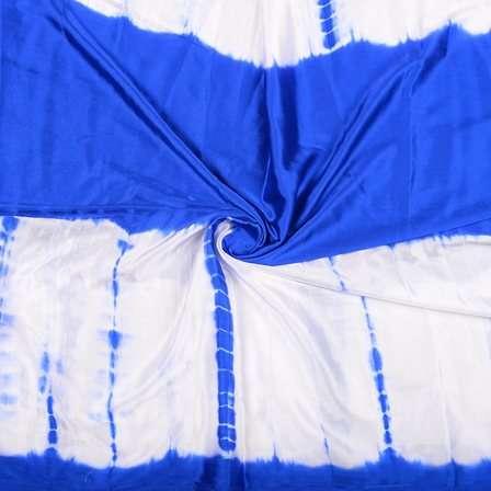 White and Blue Satin Batik Fabric -32062