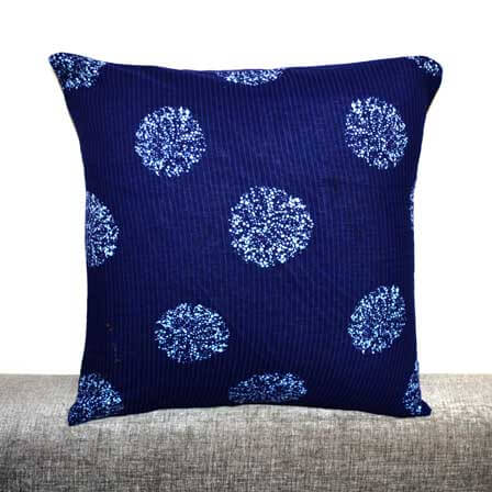 White and Blue Shibori Pattern Cotton Cushion cover