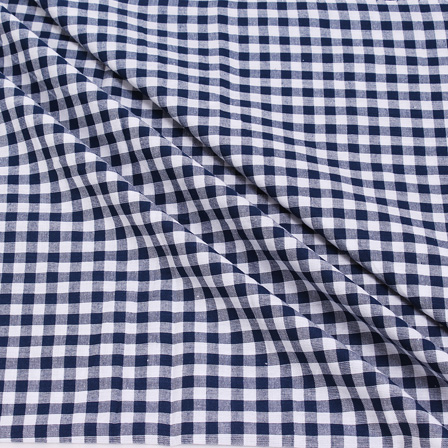 White and Blue Small Checks Handloom Cotton Khadi Fabric-40040