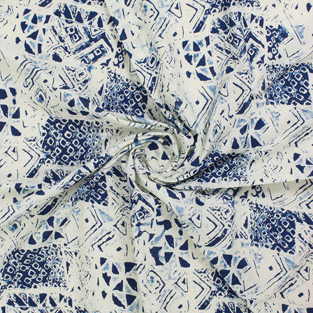 White and Blue Square Block Print Fabric-14558