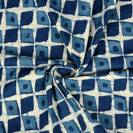 White and Blue Square Design Cotton Indigo Block Print Fabric-14363