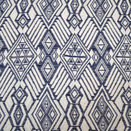White and Blue Square Design Cotton Jacquard Fabric-31030