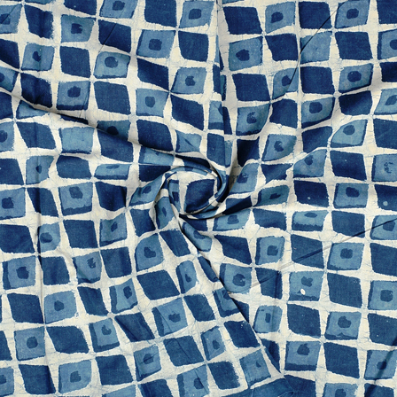 White and Blue Square Design Indigo Cotton Block Print Fabric-14384
