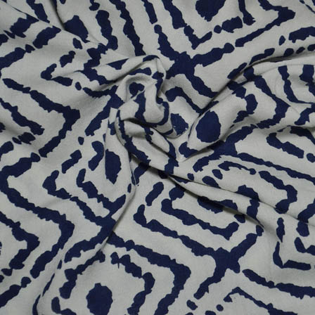 White and Blue Square Design Rayon Fabric-15005