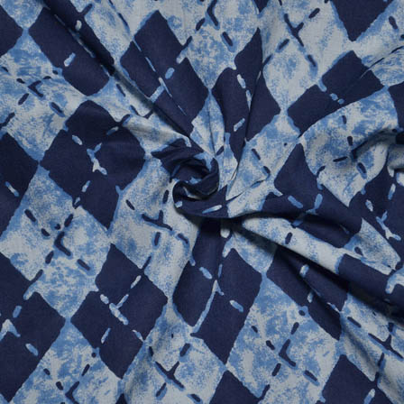 White and Blue Square Shape Indigo Block Print Fabric-14069
