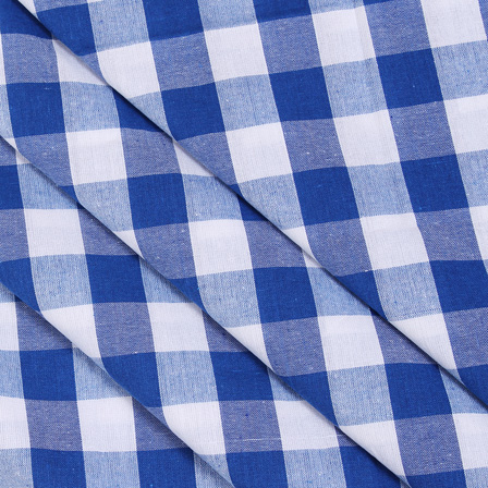 White and Blue Tom Tom Checks Handloom Cotton Khadi Fabric-40027